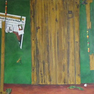Green door by Geetha Ramasesh, Expressionism Painting, Oil on Canvas, Green color