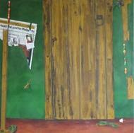 Green door Digital Print by Geetha Ramasesh,Expressionism