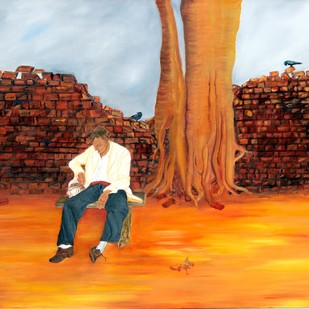 The wait by Geetha Ramasesh, Expressionism Painting, Oil on Canvas, Brown color