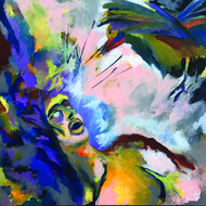 Rattle by Orah, Pop Art Painting, Acrylic on Canvas, Blue color