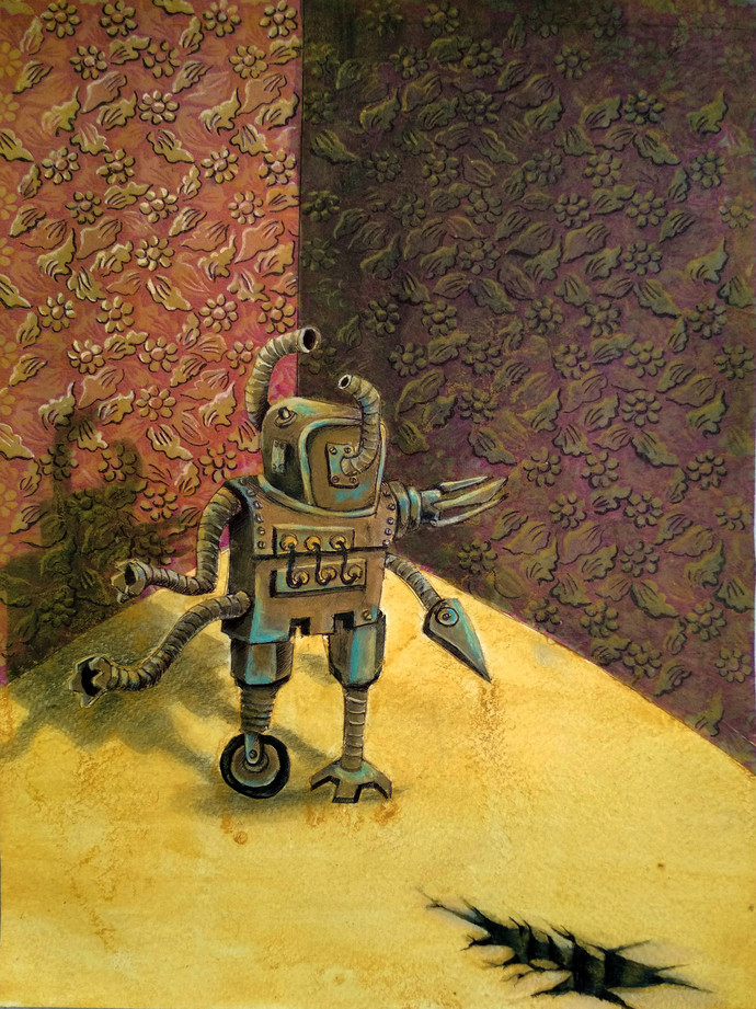 The Robot by Arpan Ghosh, Expressionism Painting, Mixed Media on Paper, Brown color