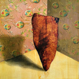 The Stone by Arpan Ghosh, Surrealism Painting, Mixed Media on Paper, Brown color