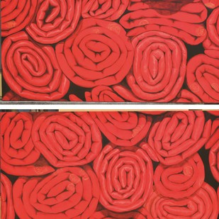 THE RED COIL by Sumit Sarkar, Impressionism Painting, Acrylic on Canvas, Red color