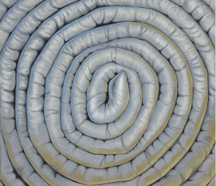 THE SOFT COIL by Sumit Sarkar, Expressionism Painting, Acrylic on Canvas, Gray color