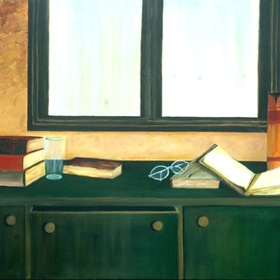 Open Book by Geetha Ramasesh, Impressionism Painting, Oil on Canvas, Green color