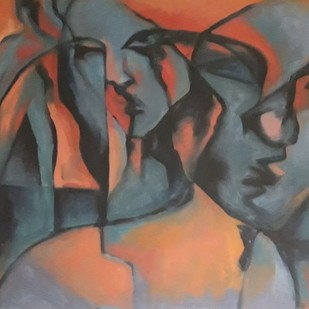 Insomnia by Partha Pratim Maity, Expressionism Painting, Oil on Canvas, Brown color