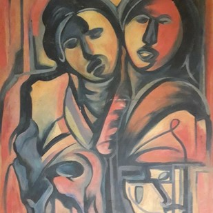 Relationship by Partha Pratim Maity, Expressionism Painting, Oil on Canvas, Brown color