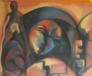 Insomnia depicted at it's best by Partha Pratim Maity, Expressionism Painting, Oil on Canvas, Brown color