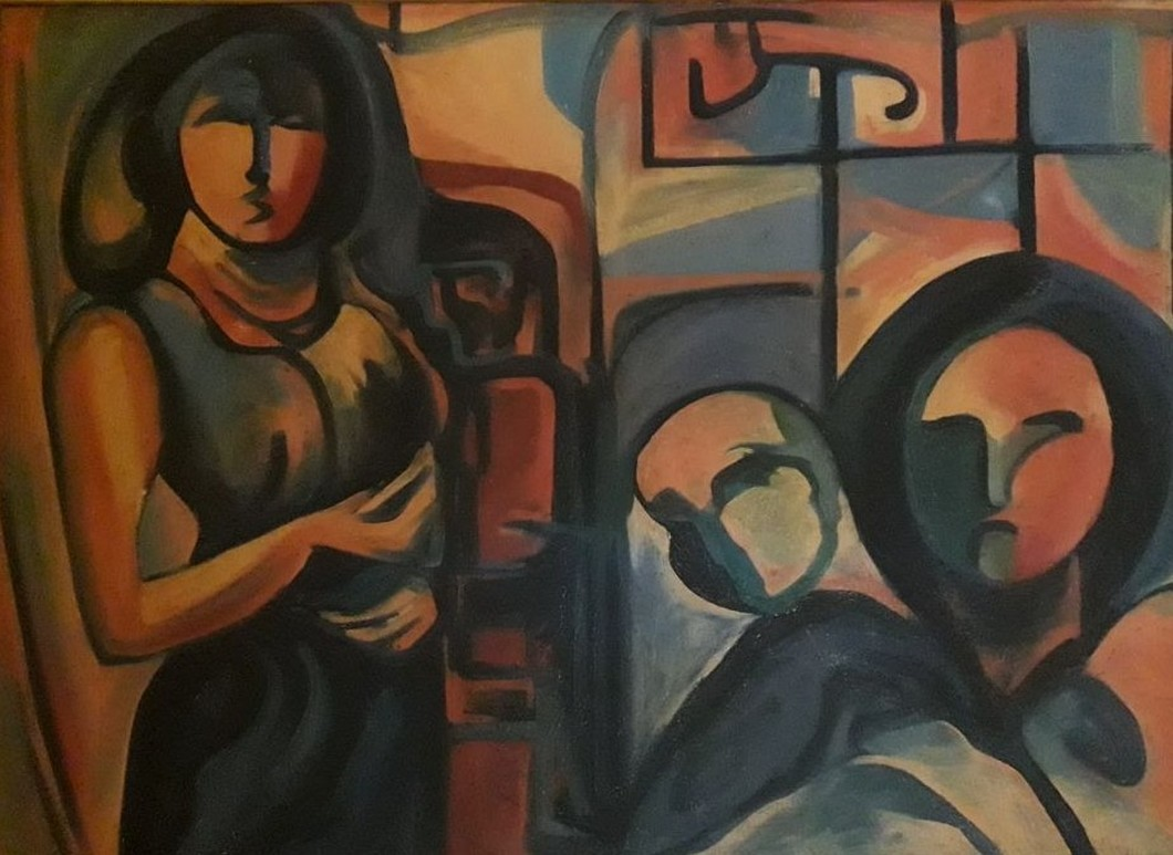 Family by Partha Pratim Maity, Expressionism Painting, Oil on Canvas, Brown color