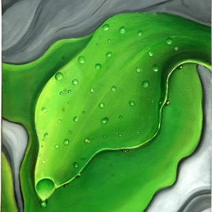 Abstract in Nature by Geetha Ramasesh, Expressionism Painting, Oil on Canvas, Green color