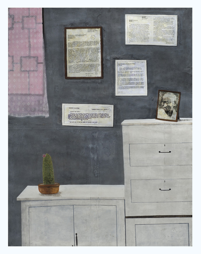 Still life of war, before and after (portrait of Gandhi, letters from Einstein to President Roosevelt and Gandhi, a cactus and a curtain) by Aryama Pal, Expressionism Painting, Mixed Media on Paper, Gray color