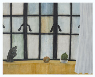 For the urgency of thinking (still life with a showpiece of 'the thinker', a cactus, a rotten orange and a curtain) by Aryama Pal, Geometrical Painting, Mixed Media on Paper, Gray color