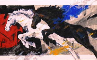 HORSE SERIES 94 by Devidas Dharmadhikari, Expressionism Painting, Acrylic on Canvas, Brown color