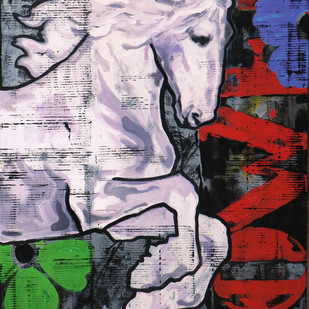 Horse Series-99 by Devidas Dharmadhikari, Expressionism Painting, Acrylic on Canvas, Brown color