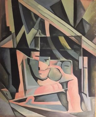 Virtual World by Partha Pratim Maity, Geometrical Painting, Acrylic on Canvas, Brown color