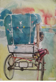 Rickshaw waala by Sreenivasa Ram Makineedi, Impressionism Painting, Watercolor on Paper, Beige color