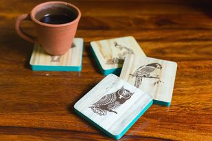 IVEI Mandala raw wood reversible coasters - set of 4 (animal) Kitchen Ware By i-value-every-idea