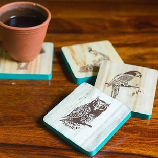 IVEI Mandala raw wood reversible coasters - set of 4 (animal) Kitchen Ware By i-value-every-idea