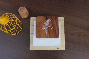 IVEI Mandala solid wood napkin holder - parrot Tissue Box By i-value-every-idea
