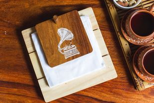 IVEI Mandala project teak wood gramophone napkin holder - wooden tissue holder - smart napkin holder Tissue Box By i-value-every-idea