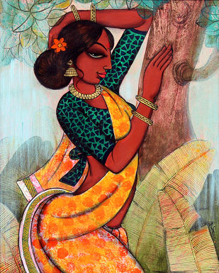 rhythmic beauty... by Varsha Kharatmal, Decorative Painting, Acrylic on Canvas, Brown color
