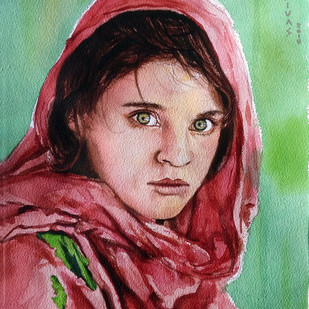 Afghan Girl by Sreenivasa Ram Makineedi, Impressionism Painting, Watercolor on Paper, Brown color