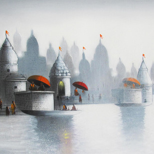 Holy Banaras by Somnath Bothe, Expressionism Painting, Charcoal on Canvas, Gray color