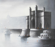 Gateway of India by Somnath Bothe, Expressionism Painting, Charcoal on Canvas, Gray color