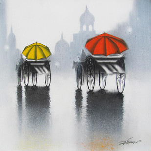 Rhythmic Monsoon Ride by Somnath Bothe, Expressionism Painting, Charcoal on Canvas, Gray color