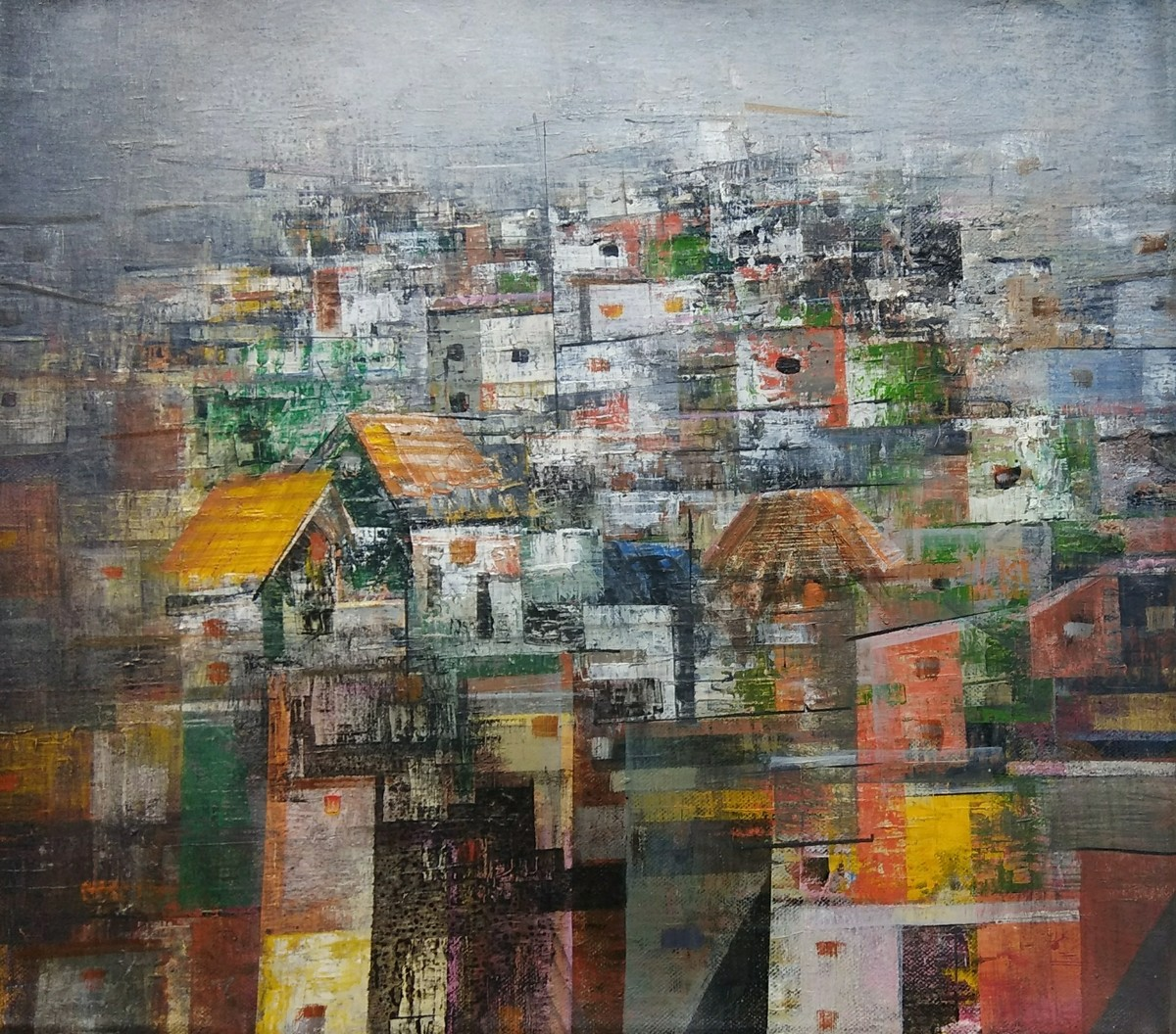 Colorfully City by M Singh, Geometrical Painting, Acrylic on Canvas, Brown color