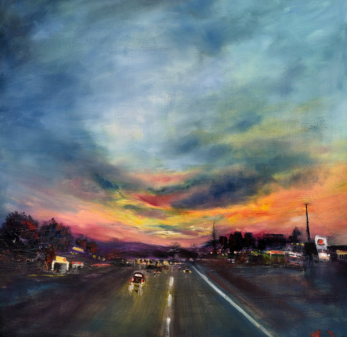 Skies at dusk by Vandana Mehta, Impressionism Painting, Oil on Canvas, Blue color