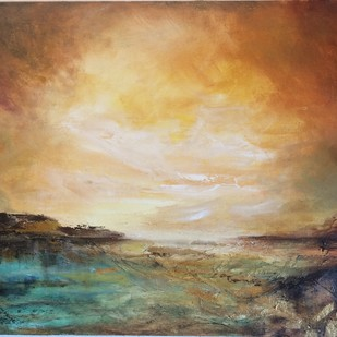 The world far away by Vandana Mehta, Abstract Painting, Oil on Canvas Board, Brown color