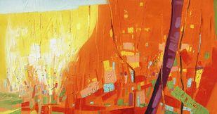 Smell of Nature VI by Ganesh Doddamani, Abstract Painting, Oil on Canvas, Orange color