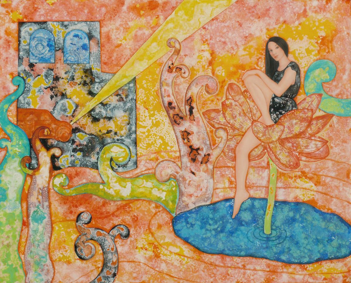 Lotus and Yellow Light Digital Print by Abhisek Dey,Expressionism