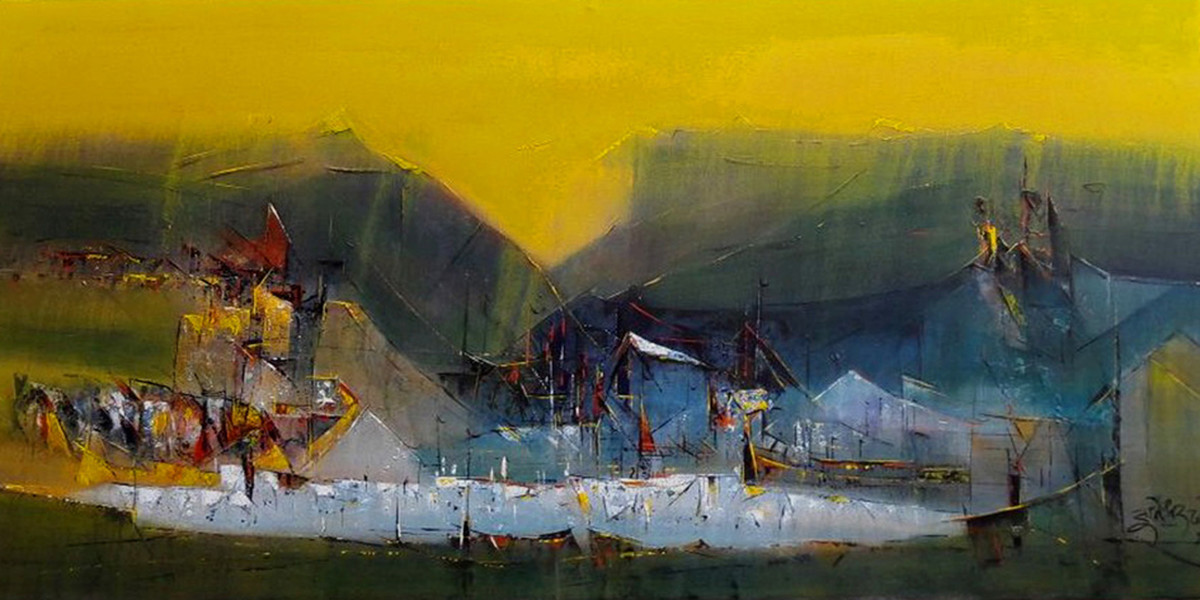 Yellow 2 by Dnyaneshwar Dhavale , Abstract Painting, Acrylic on Canvas, Green color
