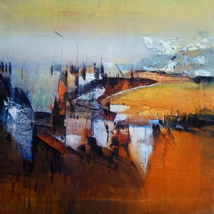 Reflection by Dnyaneshwar Dhavale , Abstract Painting, Acrylic on Canvas, Brown color