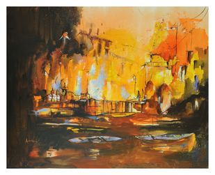 Burning life by Anita Bhattarai, Abstract Painting, Acrylic on Canvas, Brown color