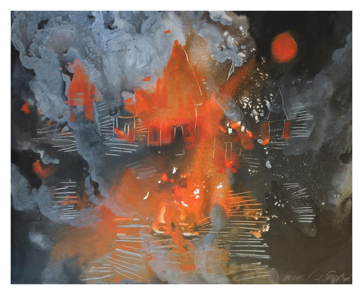 Manikarnika by Farida Zaman, Expressionism Painting, Tempera on Canvas, Brown color
