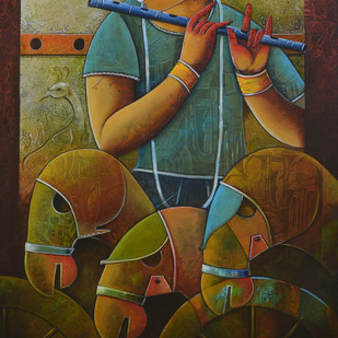 focous on by anupam pal, Decorative Painting, Acrylic on Canvas, Brown color