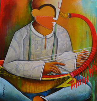 saung gauk player by anupam pal, Decorative Painting, Acrylic on Canvas, Brown color