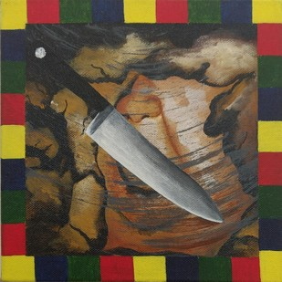 Identified & killed 2 by Nagendra G R, Expressionism Painting, Acrylic on Canvas, Brown color