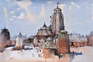 Temple Town by Bijay Biswaal, Impressionism Painting, Watercolor on Paper, Brown color