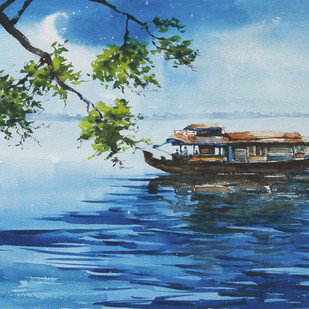 Backwater Life 8 by Mopasang Valath, Impressionism Painting, Watercolor on Paper, Blue color