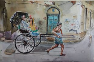 Kolkata Cityscape painting.. Calcutta Rickshaw by Avanish Trivedi, Impressionism Painting, Watercolor on Paper, Gray color