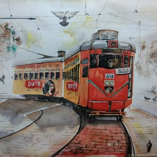 Calcutta Tram by Avanish Trivedi, Impressionism Painting, Watercolor on Paper, Gray color