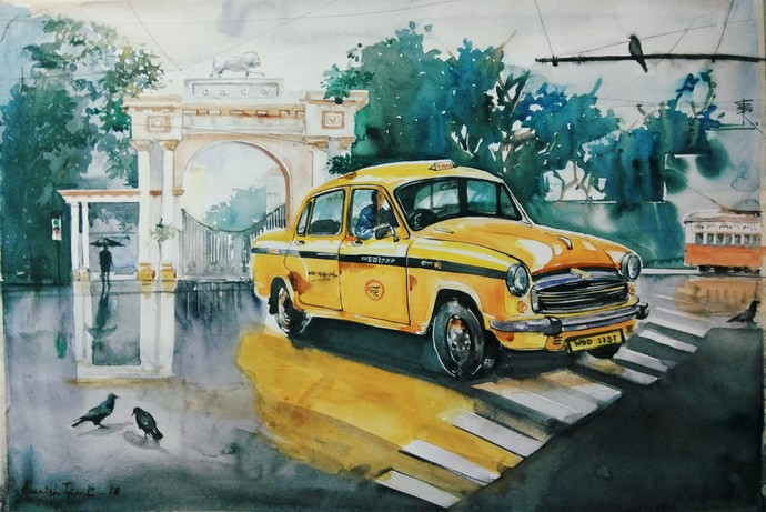 Calcutta Taxi by Avanish Trivedi, Impressionism Painting, Watercolor on Paper, Green color