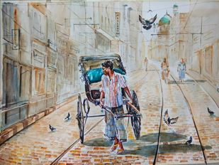 Calcutta Rickshaw by Avanish Trivedi, Impressionism Painting, Watercolor on Paper, Gray color