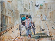 Kolkata Cityscape.. Calcutta Rickshaw by Avanish Trivedi, Impressionism Painting, Watercolor on Paper, Gray color