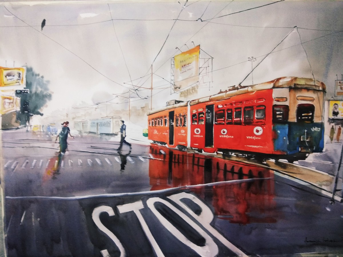 Kolkata painting.. Calcutta Tram by Avanish Trivedi, Impressionism Painting, Watercolor on Paper, Gray color