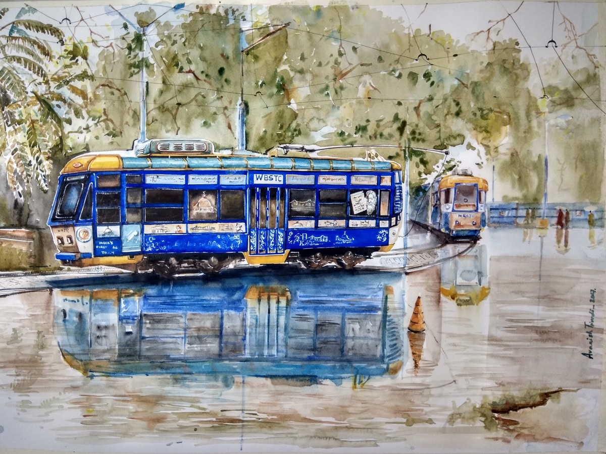 Calcutta Tram by Avanish Trivedi, Impressionism Painting, Watercolor on Paper, Beige color